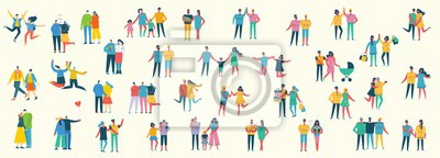 Naklejka Vector illustration of different family people wi