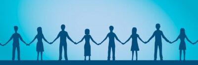 Naklejka Vector illustration of friendship. Chain of people holding hands.
