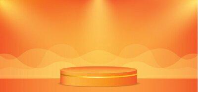 Naklejka Vector illustration of orange background with podium and lightning