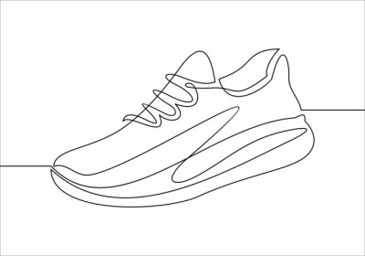 Naklejka Vector illustration of sneakers. Sports shoes in a line style. Continuous one line