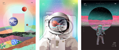 Naklejka Vector illustration of space, cosmonaut and galaxy for poster, banner or background. Abstract drawings of the future, science fiction and astronomy