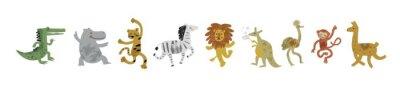 Naklejka Vector illustration set of cute dancing animals in cartoon style