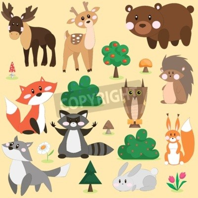 Naklejka Vector illustration set of cute forest animals in cartoon style
