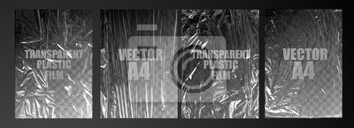 Naklejka vector illustration. texture transparent stretched film polyethylene. vector design element graphic rumpled plastic warp