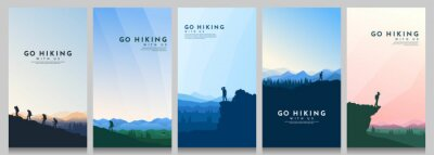 Naklejka Vector illustration. Travel concept of discovering, exploring and observing nature. Hiking. Climbing. Adventure tourism. Flat design for flyer, voucher, poster, invitation, gift card.