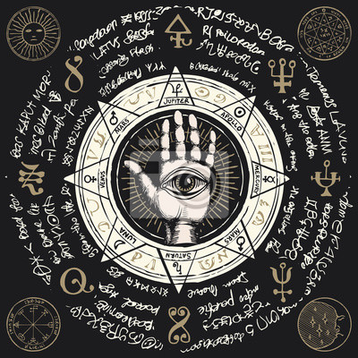 Naklejka Vector illustration with open hand with all seeing eye symbol. Human palm with signs of the planets, ancient hieroglyphs, medieval runes, spiritual symbols. Divination and prediction of the future
