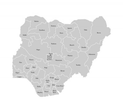Naklejka Vector isolated illustration of simplified administrative map of Nigeria. Borders and names of the provinces (regions). Grey silhouettes. White outline
