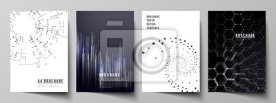 Naklejka Vector layout of A4 format modern cover mockups design templates for brochure, magazine, flyer, booklet, annual report. Technology, science, future concept abstract futuristic backgrounds.