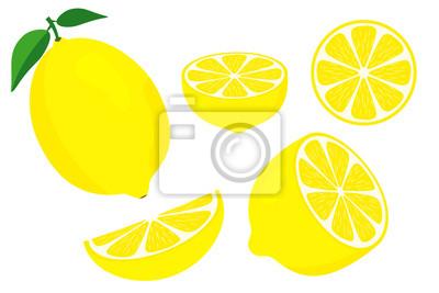 Naklejka Vector lemons. Fresh lemon fruits. Half and slice lemon with green leaf. Sliced lemon. Vitamin C. Slice of lemon