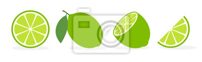 Naklejka Vector lime slice green illustration lemon isolated half fruit lime. Fresh green cut citrus icon