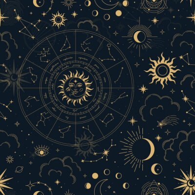 Naklejka Vector magic seamless pattern with constellations, zodiac wheel, sun, moon, magic eyes, clouds and stars. Mystical esoteric background for design of fabric, packaging, astrology, phone case, yoga mat