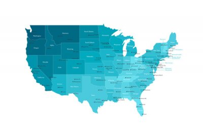 Naklejka Vector modern illustration. Simplified isolated administrative map of USA (only contiguous states) . White background, blue shapes. Names of states and some big and capital cities.