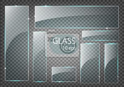 Naklejka Vector modern transparent glass plates set on sample background.