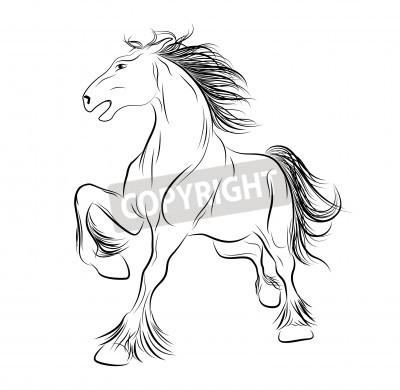Naklejka Vector Obraz Konia Tatuaż Na Wymiar Czarny Sztuka