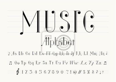 Naklejka vector of music note font and alphabet