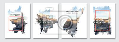Naklejka Vector paint brush clipping masks for flyer, presentation, brochure, banner, poster design. City blur background.