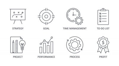 Naklejka Vector productivity icons. Editable line stroke. Set of symbols business process system strategy performance profit. The goal of the to-do list time management project
