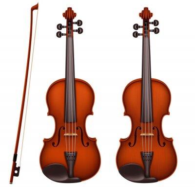 Naklejka Vector realistic brown violin with fiddlestick