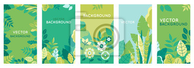 Naklejka Vector set of abstract backgrounds with copy space for text - bright vibrant banners, posters, cover design templates, social media stories wallpapers with spring leaves and flowers