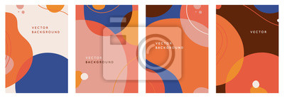 Naklejka Vector set of abstract creative backgrounds in minimal trendy style with copy space for text - design templates for social media stories