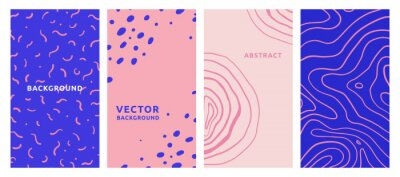 Naklejka Vector set of abstract creative backgrounds in minimal trendy style with copy space for text - design templates for social media stories - simple, stylish and minimal wallpaper designs