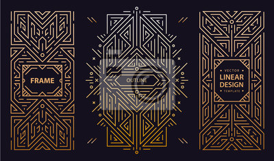 Naklejka Vector set of art deco frames, adges, abstract geometric design templates for luxury products. Linear ornament compositions, vintage. Use for packaging, branding, decoration