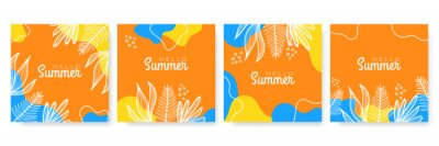 Naklejka Vector set of colourful social media stories design templates, backgrounds with copy space for text - summer landscape. Summer background with leaves and waves