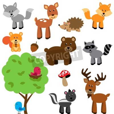 Naklejka Vector Set of Cute Woodland and Forest Animals