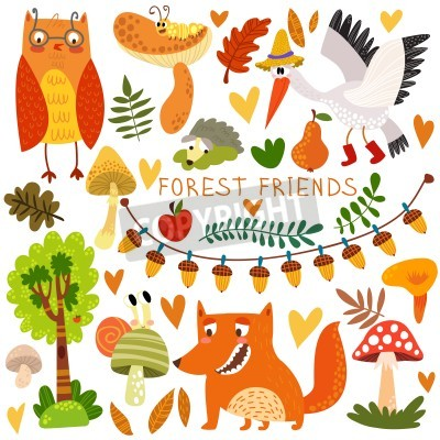 Naklejka Vector Set of Cute Woodland and Forest Animals. Owl, fox, snail, crane,hedgehog, snail, worm.(All objects are isolated groups so you can move and separate them)
