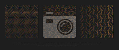 Naklejka Vector set of design elements, labels and frames for packaging for luxury products in trendy linear style.