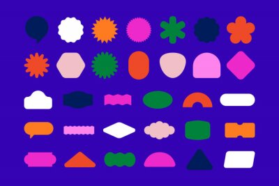 Naklejka Vector set of design elements, patches and stickers with copy space for text - abstract background elements for branding, packaging, prints and social media posts