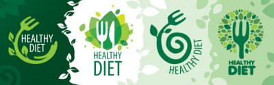 Naklejka Vector set of icons on the theme of healthy food