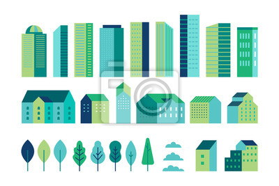 Naklejka Vector set of illustration in simple minimal geometric flat style - city landscape elements - buildings and trees - city constructor for background for header images for websites, banners, covers
