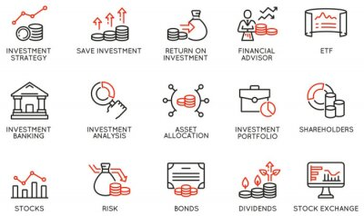 Naklejka Vector Set of Linear Icons Related to investment strategy, trade service, finance management. Mono Line Pictograms and Infographics Design Elements