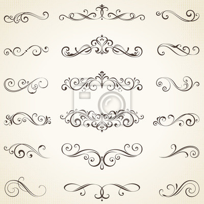 Naklejka Vector set of ornate calligraphic vintage elements, dividers and page decorations.