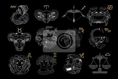Naklejka Vector set of outline zodiac signs. Vector illustration.