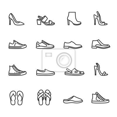 Naklejka Vector set of shoes line icons.