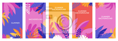 Naklejka Vector set of social media stories design templates, backgrounds with copy space for text - summer backgrounds for banner, greeting card, poster and advertising