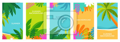 Naklejka Vector set of social media stories design templates, backgrounds with copy space for text - summer landscape