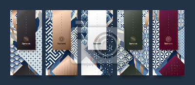Naklejka Vector set packaging templates japanese of nature luxury or premium products.logo design with trendy linear style.voucher, flyer, brochure.Menu book cover japan style vector illustration.