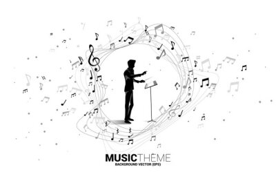 Naklejka Vector silhouette of conductor standing with music melody note dancing flow . Concept background for classic music concert and recreation.