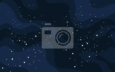 Naklejka Vector space background . Cute flat style template with Stars in Outer space