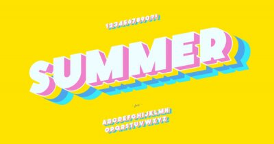 Naklejka Vector summer font 3d bold color style modern typography for decoration, logo, poster, t shirt, book, card, sale banner, printing on fabric, industrial. Cool typeface. Trendy fun alphabet. 10 eps