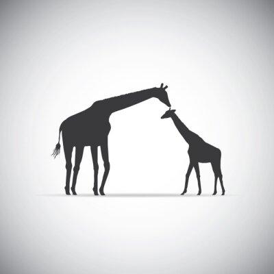 Naklejka Vector sylwetka żyrafy matki z dzieckiem