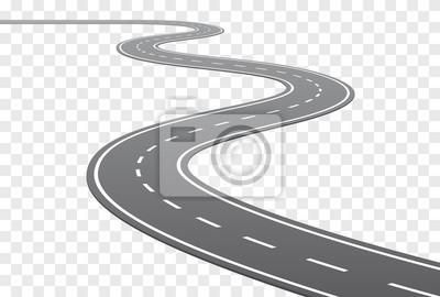 Naklejka Vector Zakrzywiona droga z białymi liniami