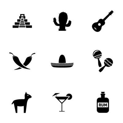Naklejka Vector zestaw ikon czarne meksyku