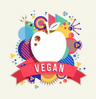 Naklejka Vegan ikona jabłko, pojęcie etykiety z kształtów kolorów