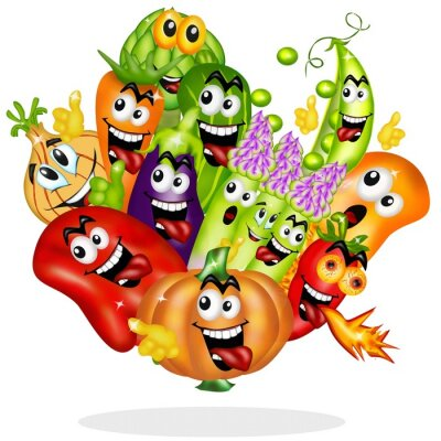 Naklejka verdure gustose cartoon