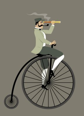 Naklejka Victorian gentleman z rurą i teleskop rowerem bicykl, EPS 8 ilustracji wektorowych