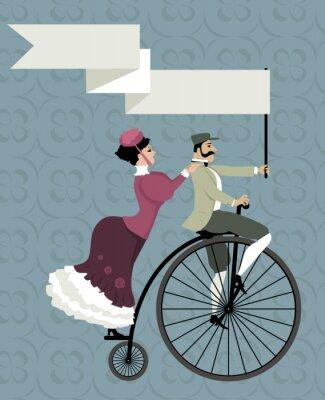 Naklejka Victorian para wieku Jazda na rowerze bicykl, gospodarstwa pusty banner nad ich głowami, EPS 8 ilustracji wektorowych, bez folii
